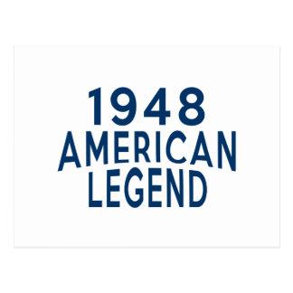1948 designs americanos do aniversário da legenda cartão postal