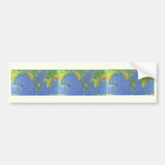 1994 mapa do mundo físico - placas tectónicas - adesivo para carro