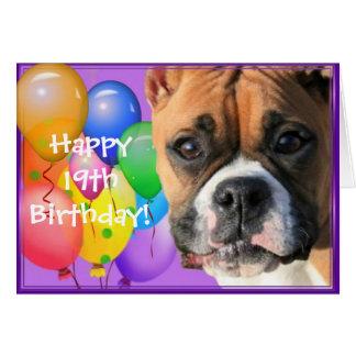 19o cartão feliz do cão do pugilista do