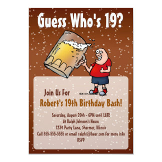 19o convite de aniversário engraçado com cerveja
