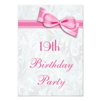 19o Damasco da festa de aniversário e arco Convite Personalizados