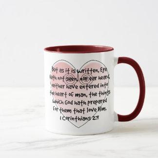 1 caneca do verso da bíblia do coração do rosa do