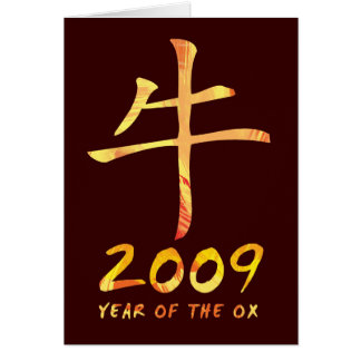 2009 anos de cartões do símbolo do boi