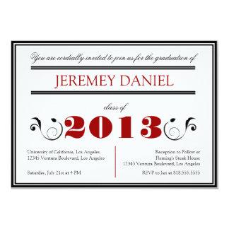 2013 formal - Cartão vermelho & preto da graduação Convite 12.7 X 17.78cm