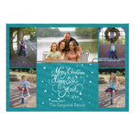2014 5 listras azuis do cartão do feriado do Natal Convites Personalizados