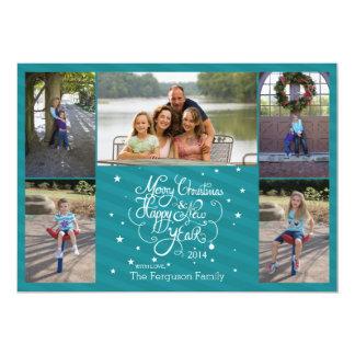 2014 5 listras azuis do cartão do feriado do Natal Convite 12.7 X 17.78cm