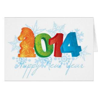 2014 anos novos chineses felizes do cartão do cava