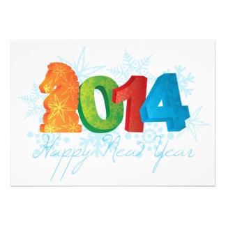 2014 anos novos chineses felizes do cartão do cava convite