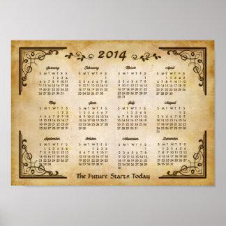 2014 calendário - quadro antigo e estilo de papel  posters