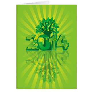 2014 numerais do ano novo vão símbolos verdes com  cartões
