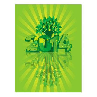 2014 numerais do ano novo vão símbolos verdes com  cartoes postais