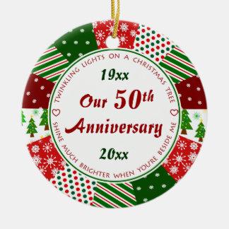 2015 50th ou algum presente do aniversário do ano ornamento de cerâmica redondo