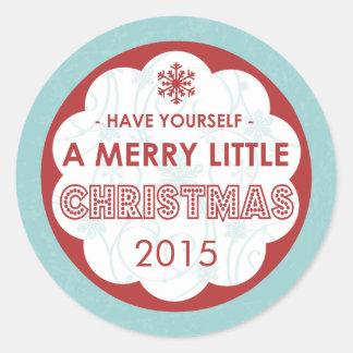 2015 alegres azuis modernos pouco Natal Adesivo Redondo