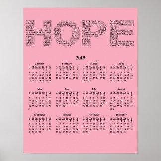 2015: Um ano de calendário de parede da esperança Posteres