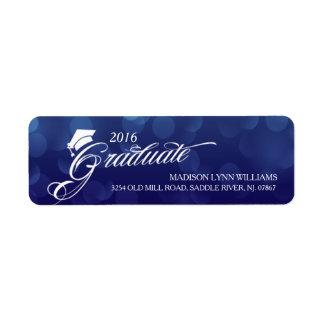 2016 Bokeh azul graduado iluminam a graduação Etiqueta Endereço De Retorno