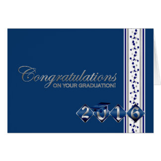 2016 cartão azul & de prata dos parabéns da