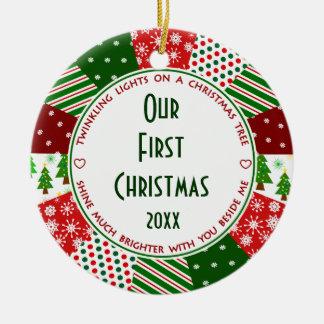 2016 nosso ø primeiro Natal casado Ornamento De Cerâmica Redondo