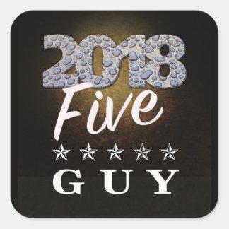 2018 etiqueta do texto da cara de cinco estrelas