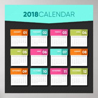 2018 poster colorido do calendário |