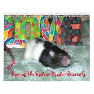 2018 RATOS do calendário do leitor do roedor