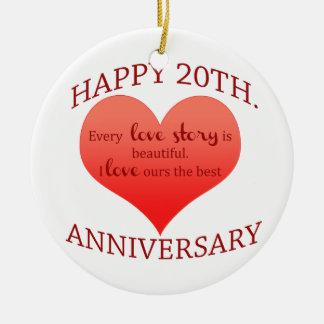 20o. Aniversário Ornamento De Cerâmica Redondo