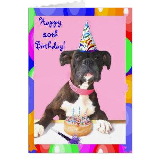 20o cartão feliz do cão do pugilista do