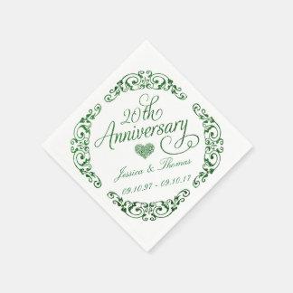 20o Guardanapo de papel esmeraldas de aniversário