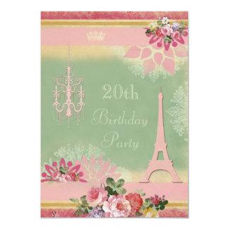 20o Torre Eiffel e candelabro cor-de-rosa do Convite 12.7 X 17.78cm
