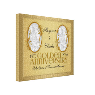 20x16 colagem da foto de Annivsersary do ouro 50th Impressão Em Tela