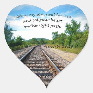 23:19 dos provérbio adesivo coração