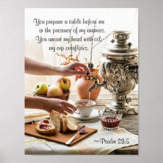 23:5 do salmo você prepara uma mesa antes de mim, pôster
