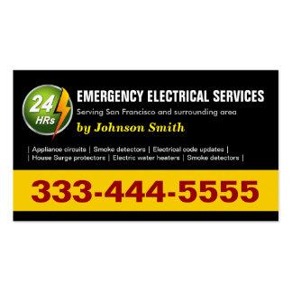 24 horas de serviço elétrico da emergência - frent cartões de visitas