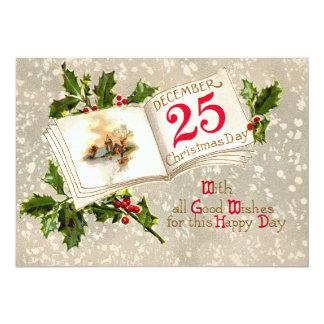 25 de dezembro neve do azevinho da igreja convite 12.7 x 17.78cm