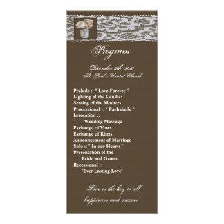 25 frascos de pedreiro do programa do casamento 10.16 x 22.86cm panfleto