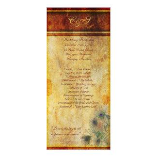 25 programas do casamento da pena do pavão panfletos informativos personalizados