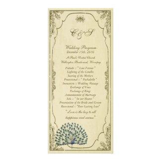 25 programas do casamento do pavão do vintage panfleto informativo personalizado