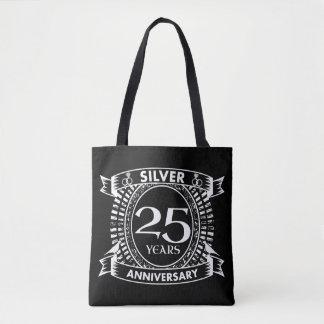 25a crista da prata do aniversário de casamento bolsa tote