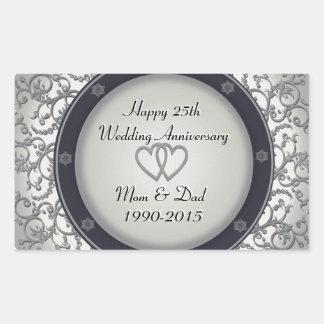 25o Aniversário de casamento de prata Adesivo Retangular
