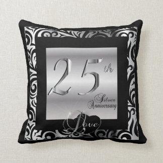 25o Aniversário de casamento de prata Almofada