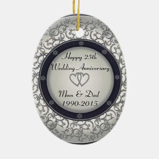 25o Aniversário de casamento de prata Ornamento De Cerâmica Oval
