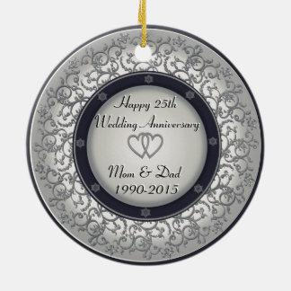 25o Aniversário de casamento de prata Ornamento De Cerâmica Redondo