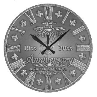 25o Aniversário de casamento de prata Relógio De Parede