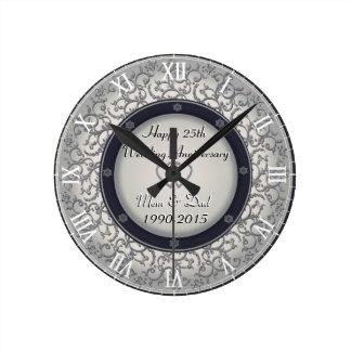 25o Aniversário de casamento de prata Relógios De Pendurar