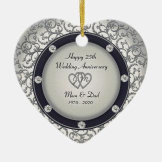25o Aniversário de casamento Ornamento De Cerâmica Coração