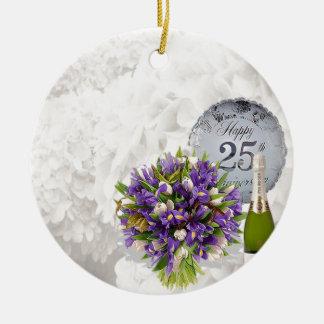 25o Aniversário de casamento Ornamento De Cerâmica Redondo