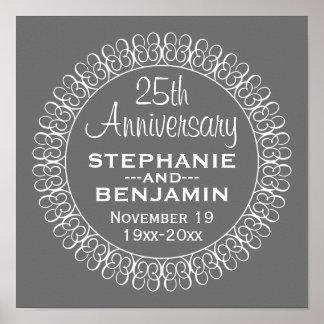25o Aniversário de casamento personalizado Poster