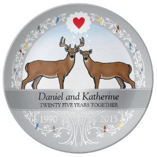 25o aniversário, fanfarrão & gama de casamento prato de porcelana