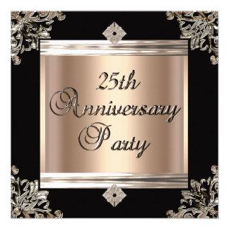 25o Café preto do art deco do aniversário de casam Convites