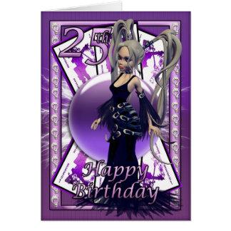 25o Cartão de aniversário com boneca gótico,
