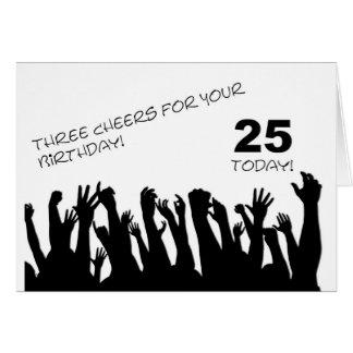 25o Cartão de aniversário com os aplausos que acen